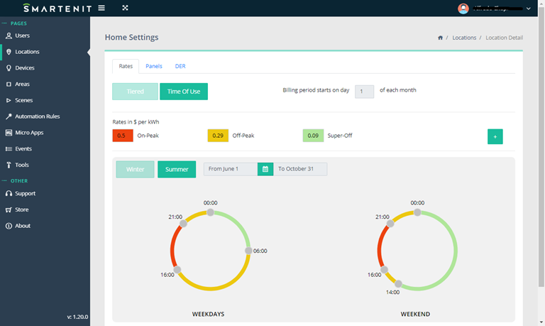 Smartenit Webapp Setting Rates