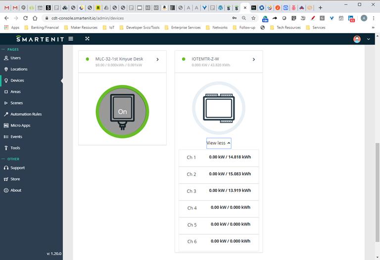 Smartenit IoTeMtr Webapp Device View