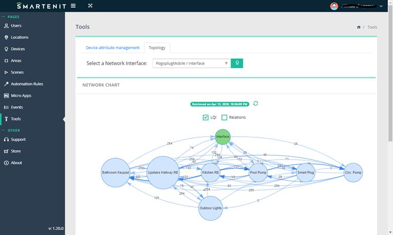 Smartenit webapp zigbee topology